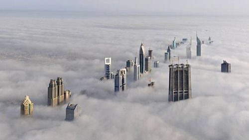 This photo was taken from the world's tallest building, the Burj Dubai at 2,620 feet.