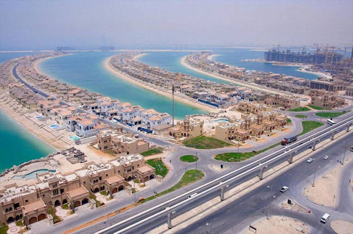 The manmade Palm Jumeirah Island in Dubai